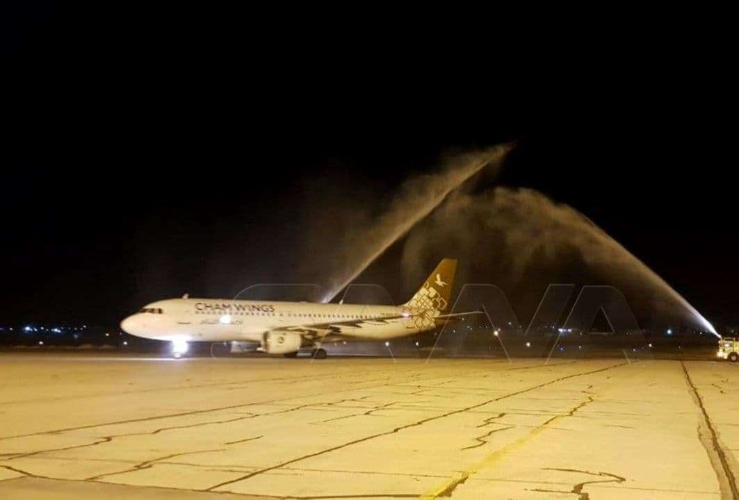 The first foreign flight to arrive at the Syrian airport of Aleppo since 2011, Arabic newspaper -Profile News